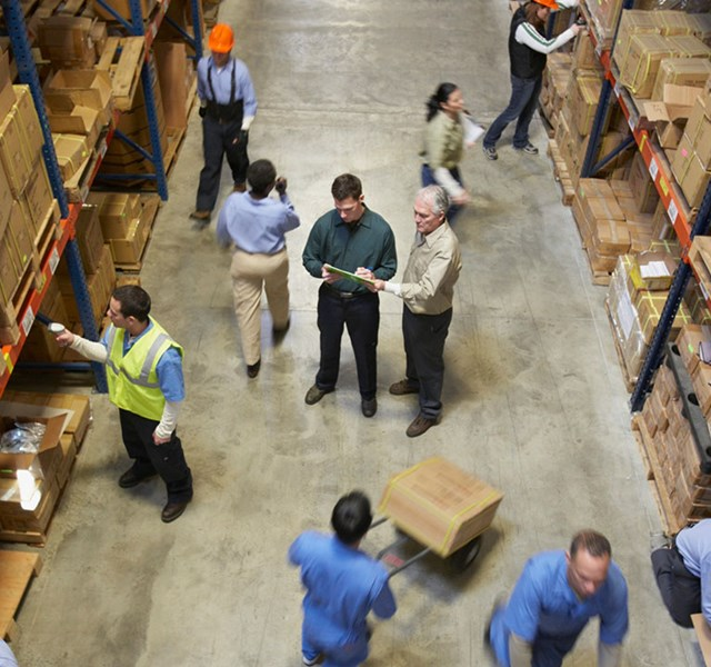 People working in a warehouse