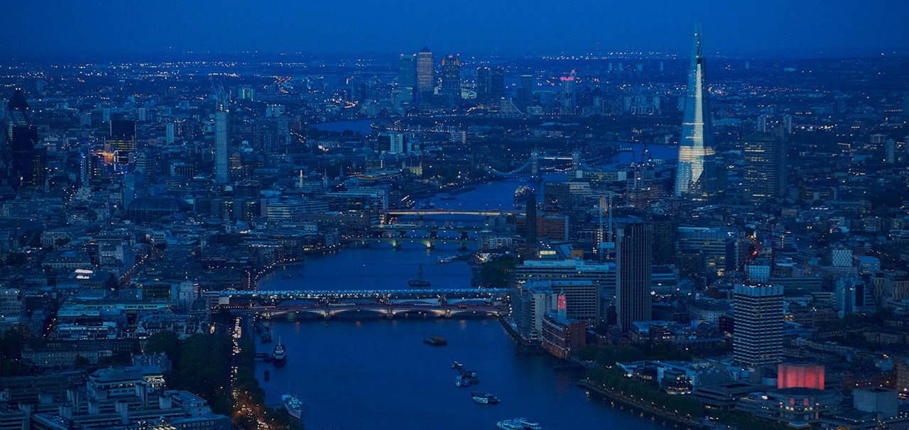 Night view of London city centre